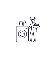 Dish washing machine line icon sign vector