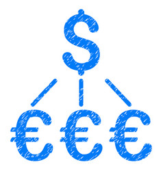 Dollar euro links grunge icon vector