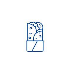Doner kebab line icon concept doner kebab flat vector