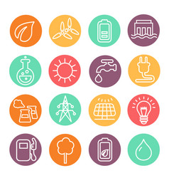 eco energy and electricity icon set vector image