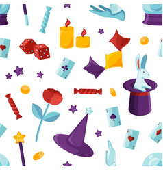 equipment for magic show seamless pattern purple vector image