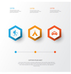 Exploration icons set collection car booth vector
