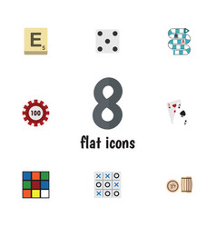 Flat icon play set of ace mahjong cube and other vector
