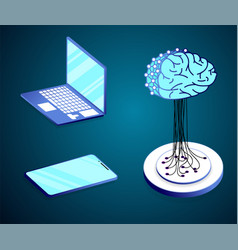flat isometric concept of artificial intelligence vector image