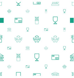 fragile icons pattern seamless white background vector image