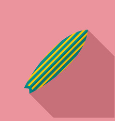 green striped surfboard icon flat style vector image