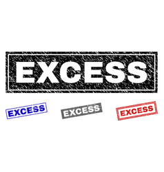 Grunge excess scratched rectangle stamp seals vector