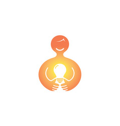 happy abstract person holding light bulb lamp logo vector image