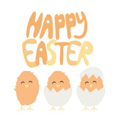 Happy easter hand written font - baby chiken vector