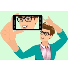 Happy guy is taking selfie vector