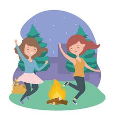 happy women campfire trees night landscape vector image