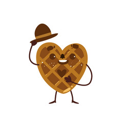 Heart shaped waffle wafer character raising hat vector