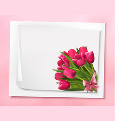 holiday background with bouquet pink flowers vector image