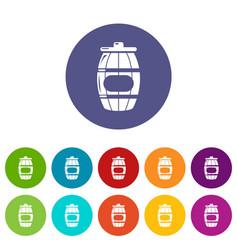 honey barrel icons set color vector image