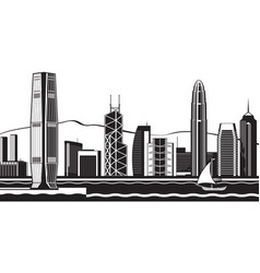 Hong kong skyline day vector