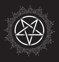 Inverted pentagram dot work ancient pagan symbol vector