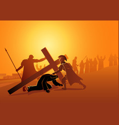 jesus falls for third time vector image
