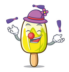 Juggling lemon ice cream mascot cartoon vector