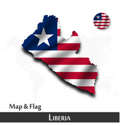 liberia map and flag waving textile design dot vector image