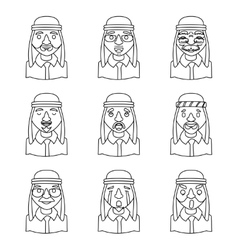 Line Art Avatars Arab Businessman Design Character vector