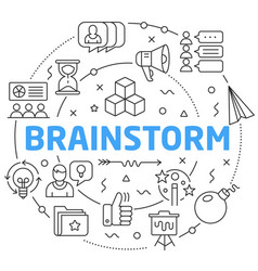 Line flat circle brainstorm vector