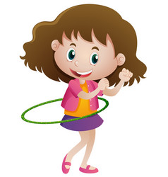 Little girl playing hulahoop alone vector