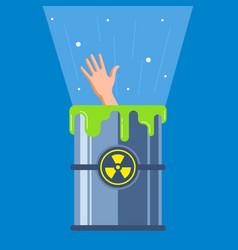 Man fell into a radioactive container vector
