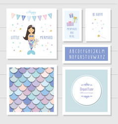 Mermaid birthday card templates set included fish vector