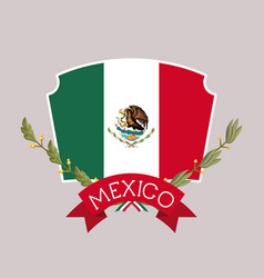 mexico insignia flag with ribbon in colorful vector image