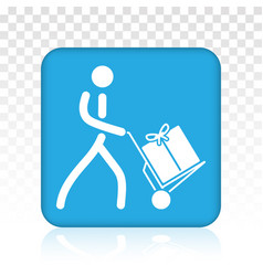 Mover pushing moving hand truck dolly hand cart vector