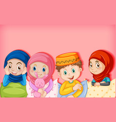 muslim children cartoon character vector image