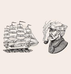 Nautical sailing ship in sea captain or vector
