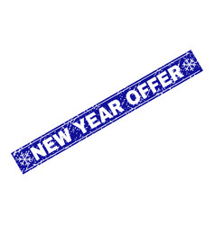 new year offer scratched rectangle stamp seal with vector image
