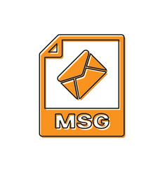 Orange msg file document icon download msg button vector