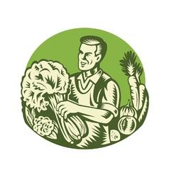 Organic Farmer Green Grocer Vegetable Retro vector