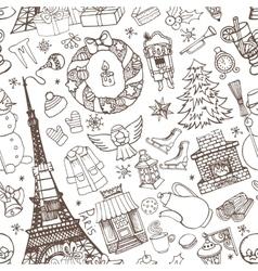 Paris winterDoodle christmas seamless pattern vector