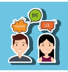 Persons talk speech chat bubble vector