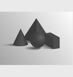 Pyramid or cone smooth sphere and cuboid shapes vector