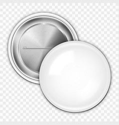 realistic blank white badge on transparent back vector image