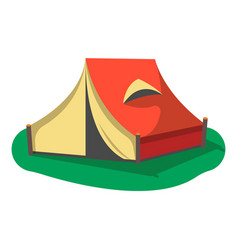 Red camping tent icon isolated vector
