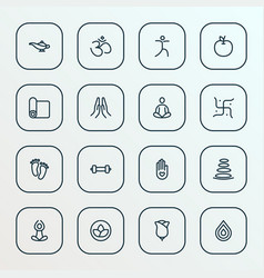 Relax icons line style set with yoga lotus vector