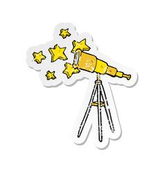 Retro distressed sticker of a cartoon telescope vector