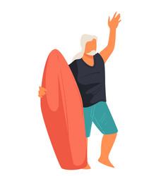 senior man surfing elderly surfer with board vector image