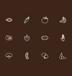 Set 12 editable cooking outline icons includes vector