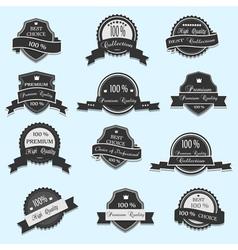 set 12 premium quality labels vector image
