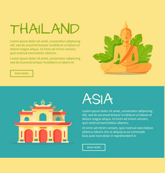 set asia and thailand flat web banners vector image