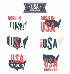 set made in usa and born in usa vector image