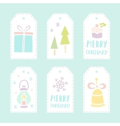 Set of 6 christmas gift tags vector image