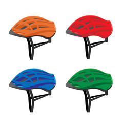 set of bicycle helmets vector image