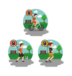set of men and woman in the park healthy lifestyle vector image